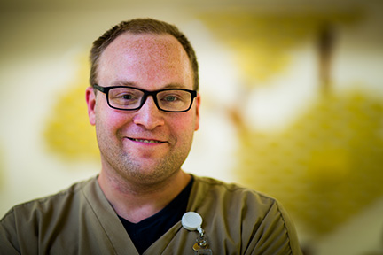 Lifeworks Associate Lance Kopischke works the overnight shift at Mayo Clinic Health System – Mankato.