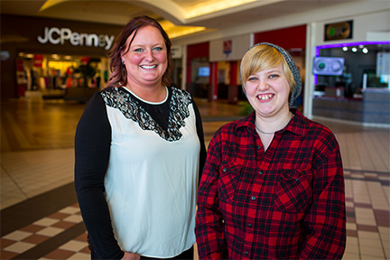 Amanda Vaubel (Right) with her job coach Chelsea Skinner outside JCPenny.