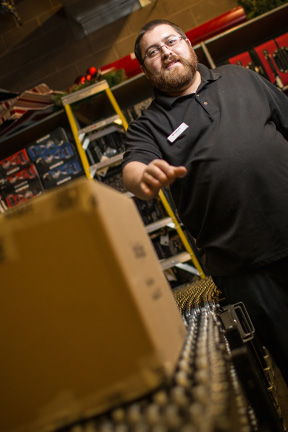 Lifeworks Associate Andrew Wilmes works in the receiving department at Herberger's.