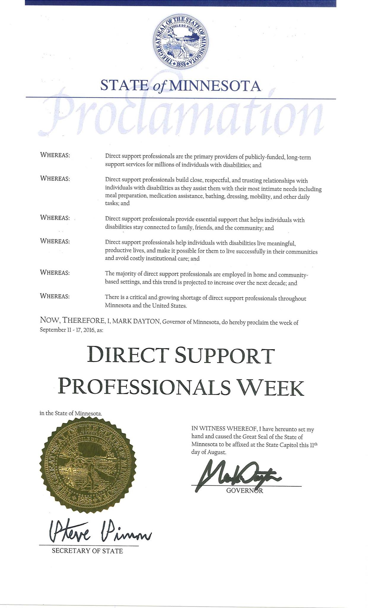 Governor Mark Dayton formally declared September 11-17 as Direct Support Professionals Week