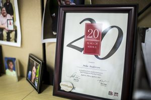 Mike Anderson's certificate honoring his 20 years at Rapid Packaging.
