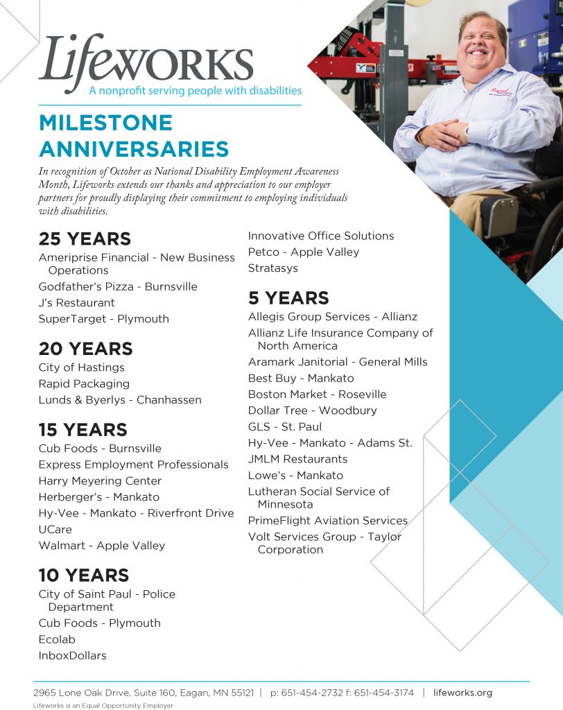 Milestone employer partner list.