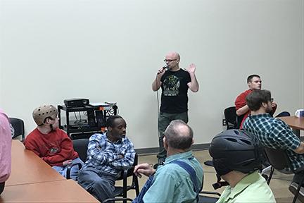 Chris Olson addresses the men's group