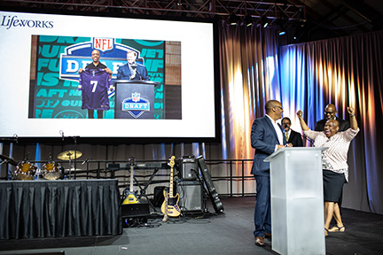 """To close out his Personal Achievement Award acceptance speech on the night of the NFL Draft, Ajani Lewis-McGhee said: """"With the 30th pick in the 2018 NFL Draft, the Minnesota Vikings select Ajani Lewis-McGhee."""