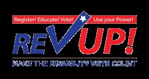 ational Disability Voter Registration Week REV UP Logo