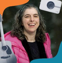 Lifeworks Music Therapy Participant - Woman with Medium Length Brown Hair Smiling